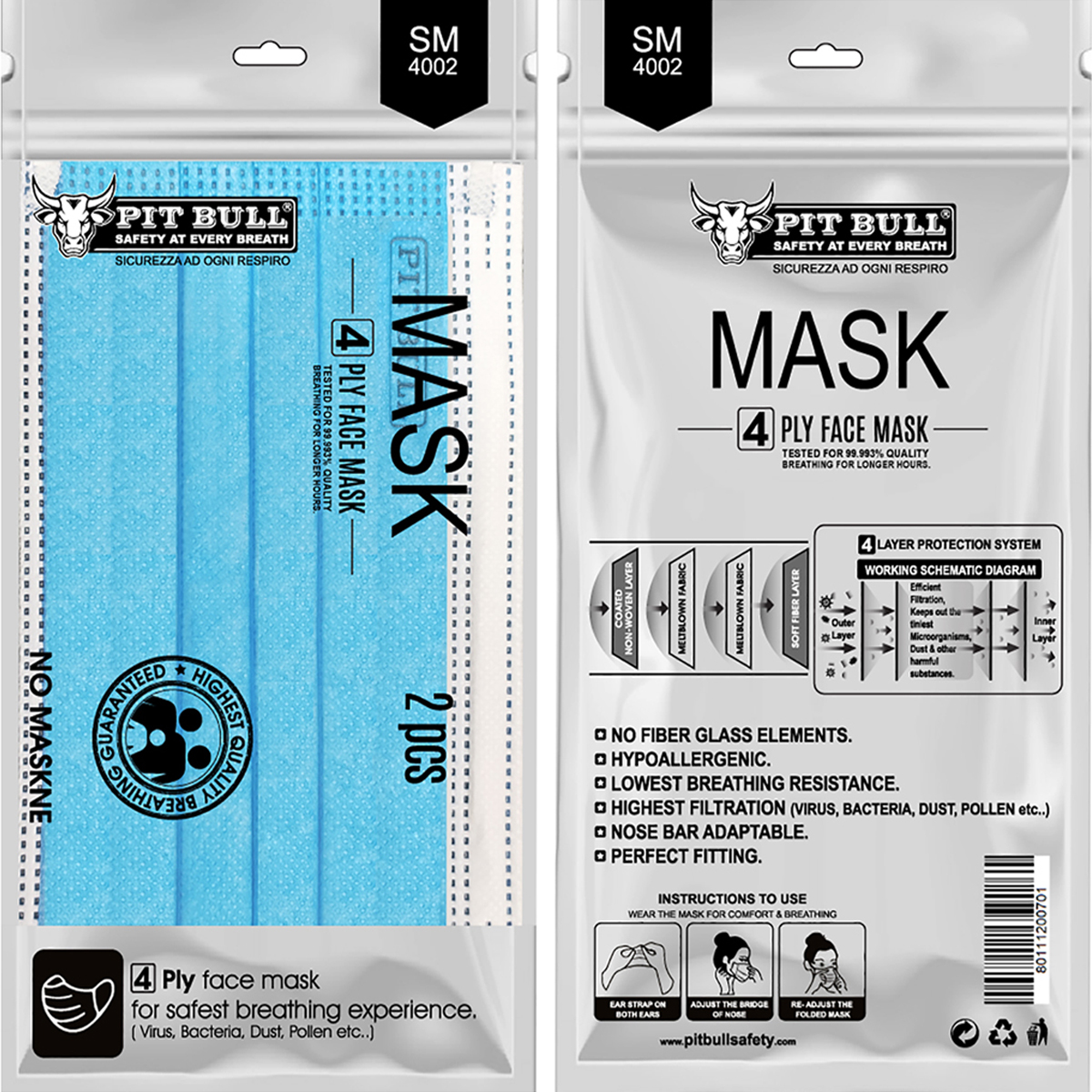 SM-4002 4ply Mask with Ear Loop D/B – Pouch of 2 Pcs