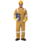 100% COTTON COVERALL WITH REFLECTIVE - KHAKI
