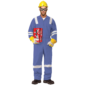 100% COTTON COVERALL WITH REFLECTIVE - PETROL BLUE