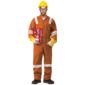 100% COTTON COVERALL WITH REFLECTIVE - ORANGE
